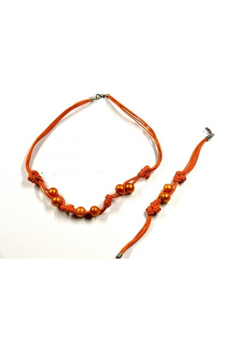 Set of Necklace and Bracelet with orange Pearls