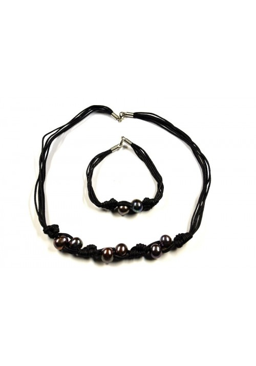 Set of Necklace and Bracelet with black Pearls