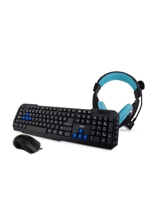 Kit Teclado y ratón 3GO Drile con cable + auriculares
